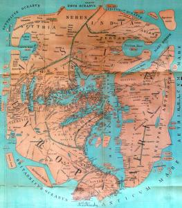 Roman map of the world c.43AD. Rome, clearly is the centre of the civilised world, and must therefore be central on the map.
