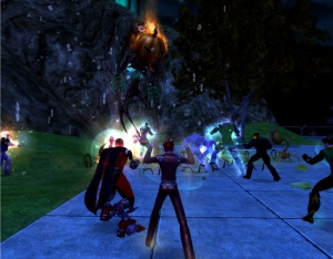 City of Heroes Halloween event spontaneous boss spawn. Time to dispatch: 45 minutes.